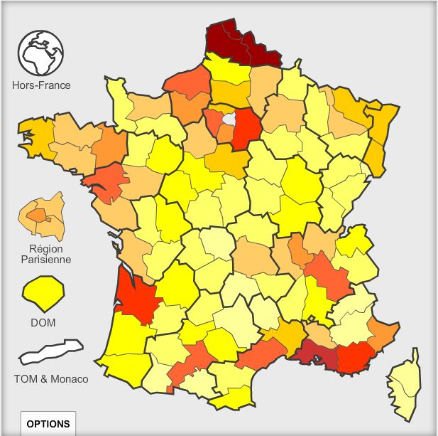 Carte déclarants par départements